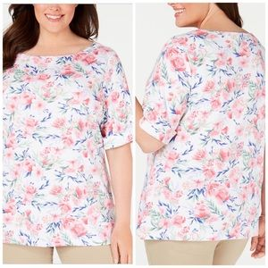 Floral Boatneck Cuffed Sleeve Tee Plus Size 1X